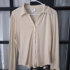 EUC Ann Taylor Loft button down blouse ivory